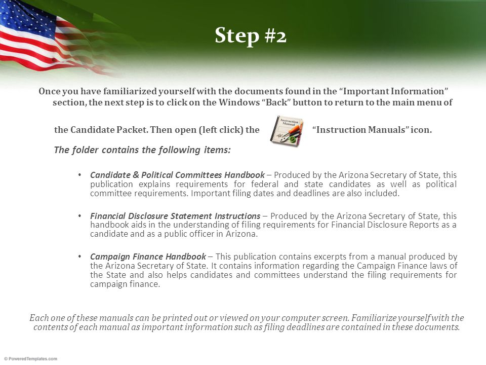 Step #2 Once you have familiarized yourself with the documents found in the Important Information section, the next step is to click on the Windows Back button to return to the main menu of the Candidate Packet.