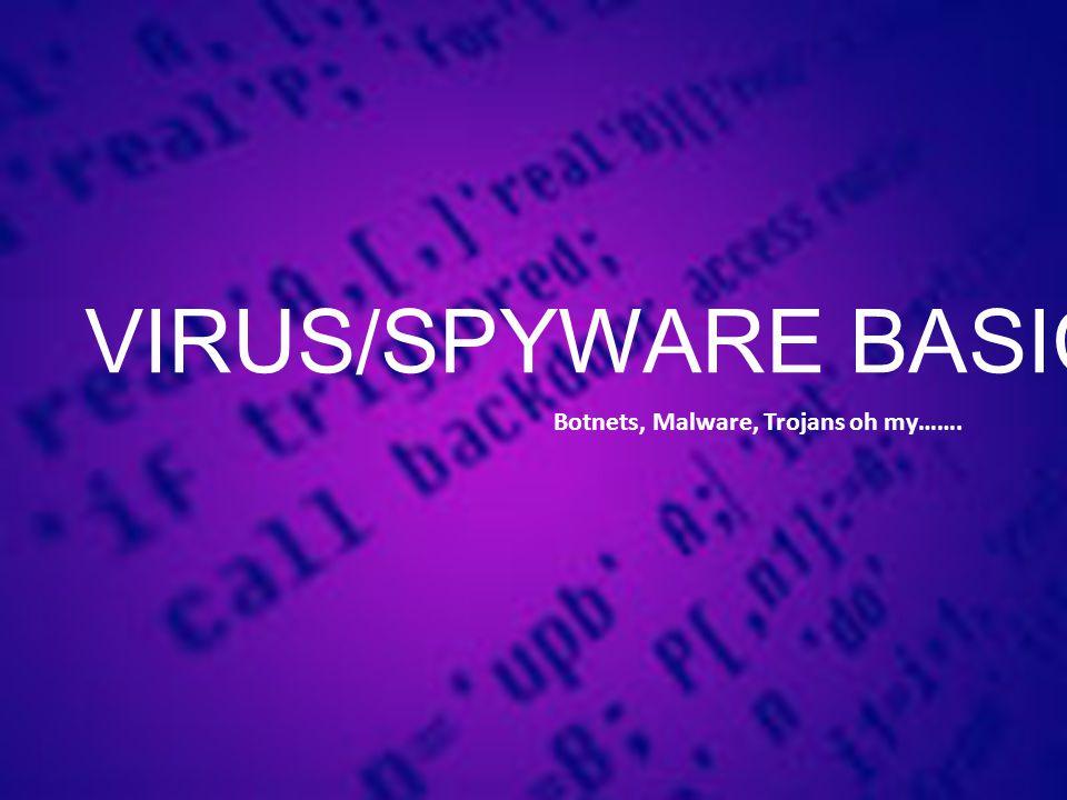 VIRUS/SPYWARE BASICS Botnets, Malware, Trojans oh my…….