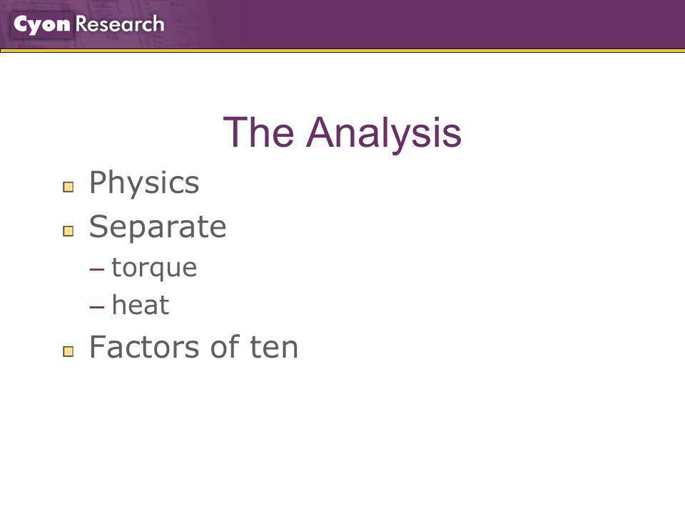 The Analysis Physics Separate – torque – heat Factors of ten