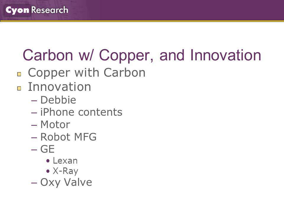 Carbon w/ Copper, and Innovation Copper with Carbon Innovation – Debbie – iPhone contents – Motor – Robot MFG – GE Lexan X-Ray – Oxy Valve