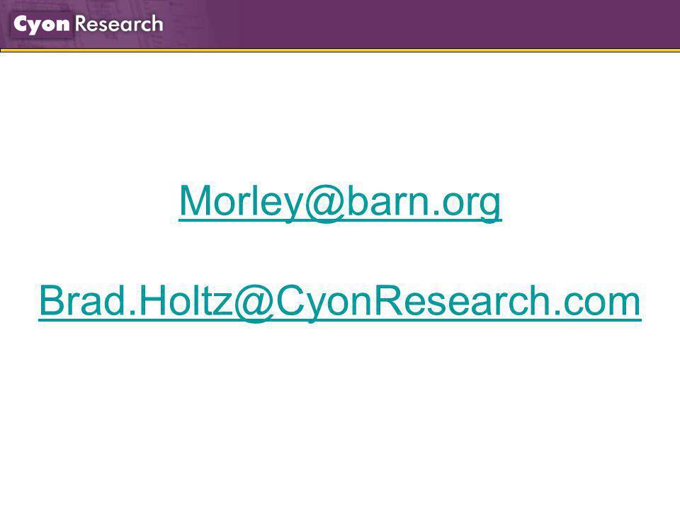 Morley@barn.org Brad.Holtz@CyonResearch.com
