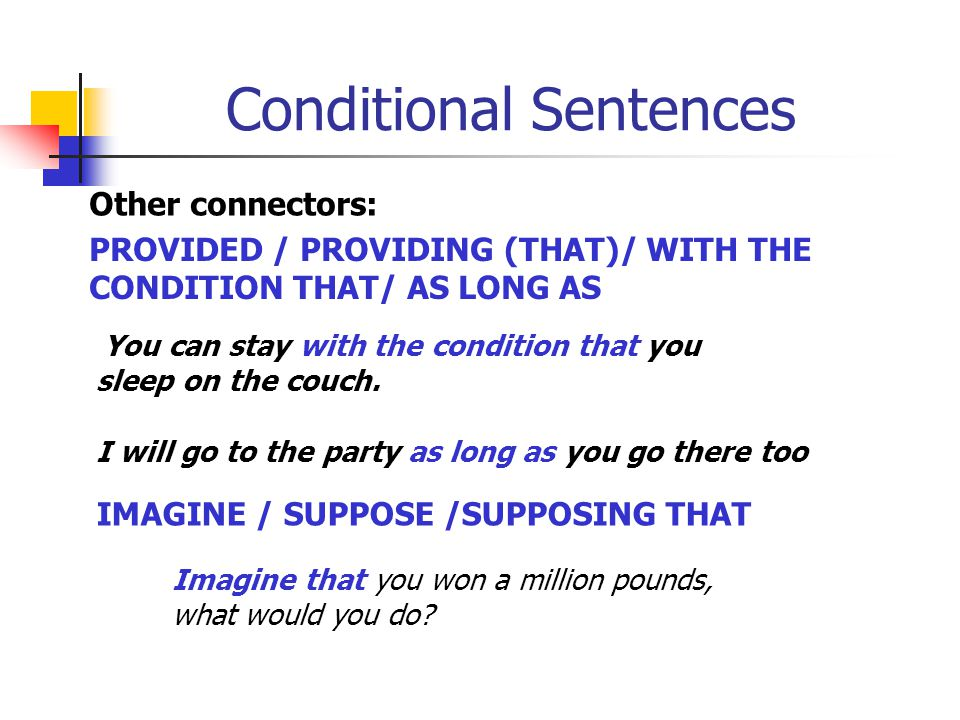 Conditional Sentences Other connectors: Type 1 : UNLESS = SI NO…/A MENOS QUE If you don t phone John, he ll get very angry. Unless you phone John, he