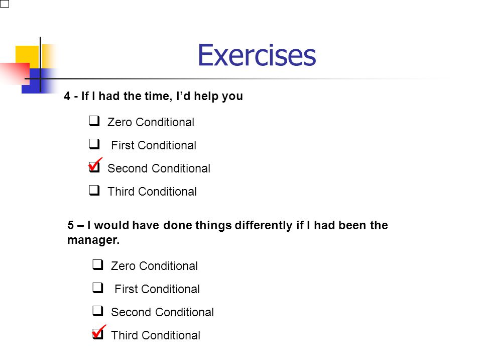 Exercises 2 - I'll tell her if she comes. Zero Conditional First Conditional Second Conditional Third Conditional 3 - If I were you, I'd buy it as soo