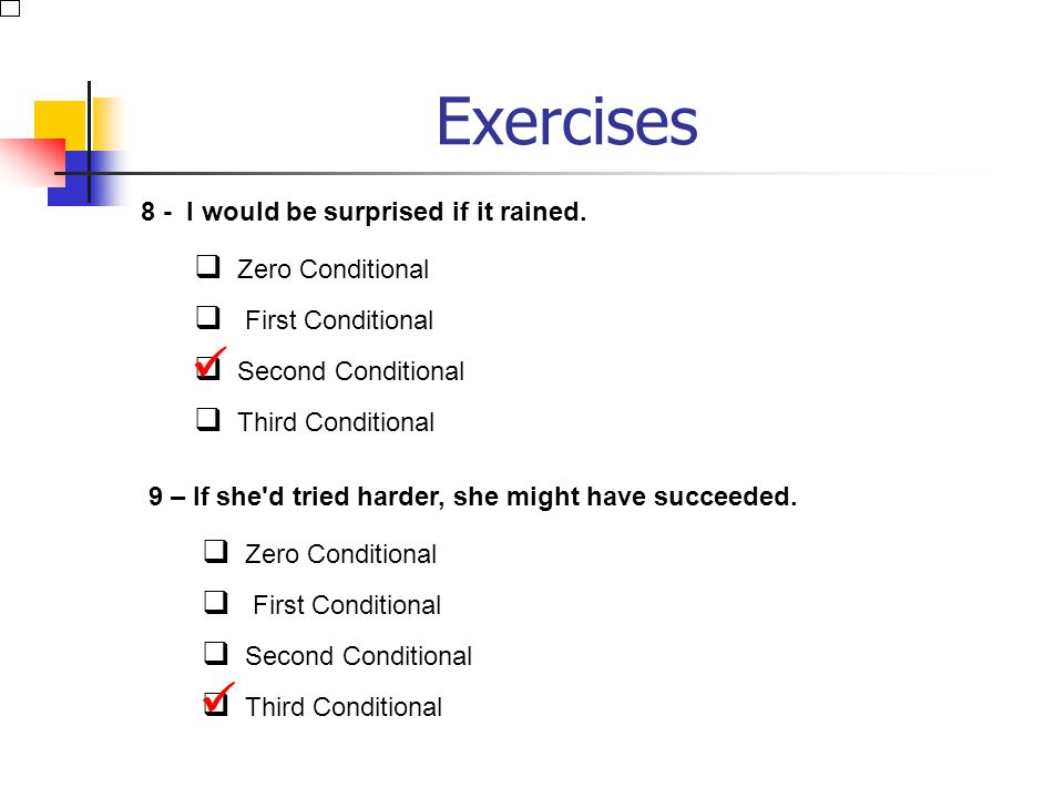 Exercises 6 - If you work hard enough, you may well pass. Zero Conditional First Conditional Second Conditional Third Conditional 7 – Water boils if y