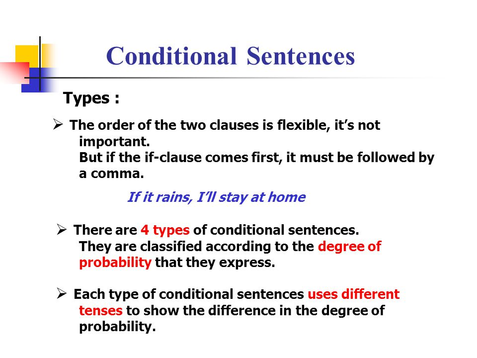 Conditional Sentences Types : There are 4 types of conditional sentences.