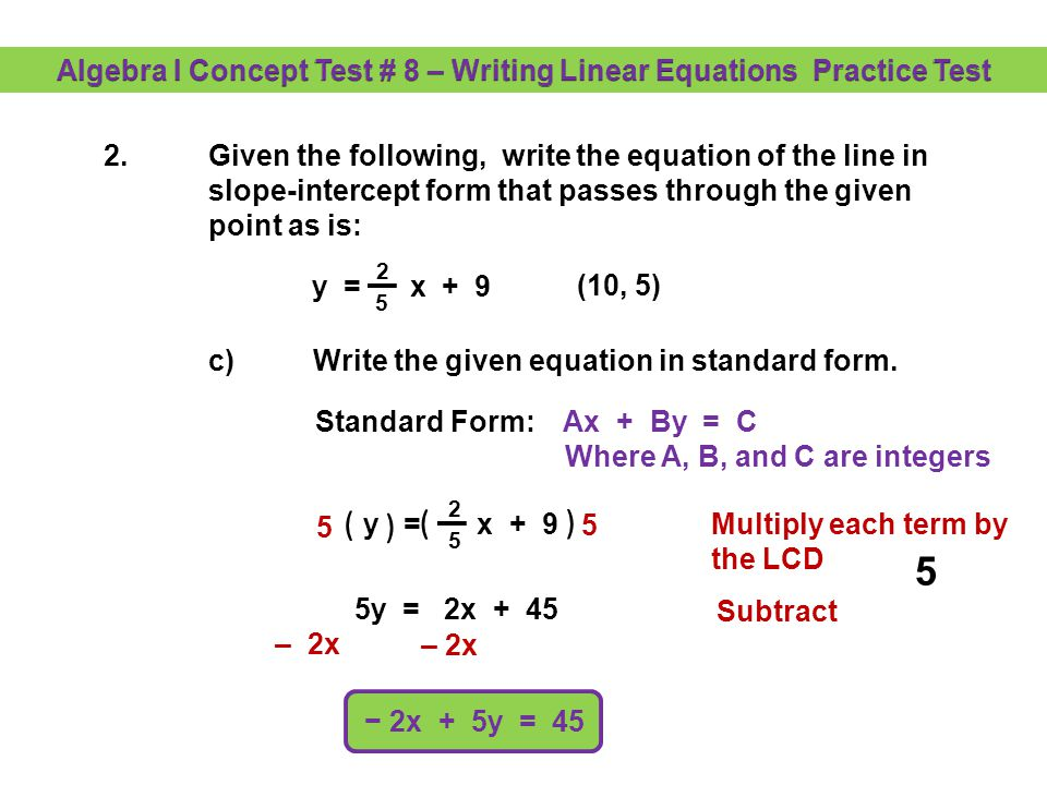 Writing The Equation Of A Line When Given Two Points Worksheet 4 9 ...