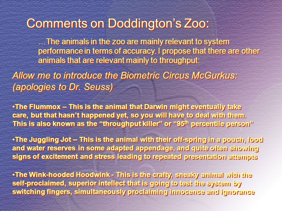 Allow me to introduce the Biometric Circus McGurkus: (apologies to Dr. Seuss) …The animals in the zoo are mainly relevant to system performance in ter
