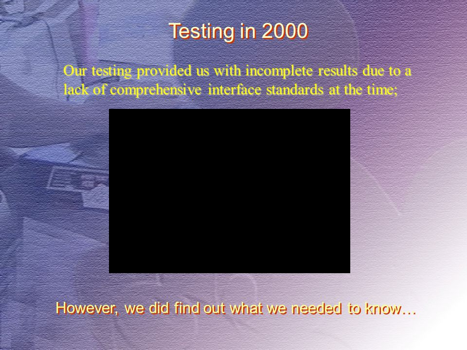 Testing in 2000 However, we did find out what we needed to know… Our testing provided us with incomplete results due to a lack of comprehensive interf