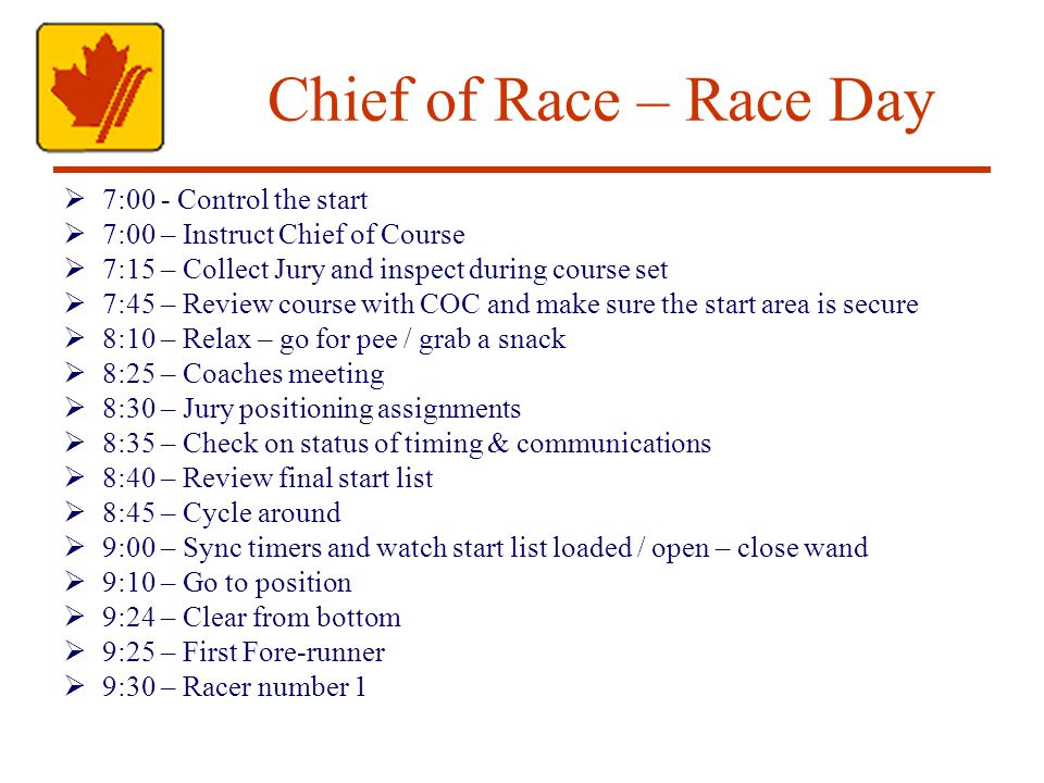 Chief of Race – Race Day 7:00 - Control the start 7:00 – Instruct Chief of Course 7:15 – Collect Jury and inspect during course set 7:45 – Review course with COC and make sure the start area is secure 8:10 – Relax – go for pee / grab a snack 8:25 – Coaches meeting 8:30 – Jury positioning assignments 8:35 – Check on status of timing & communications 8:40 – Review final start list 8:45 – Cycle around 9:00 – Sync timers and watch start list loaded / open – close wand 9:10 – Go to position 9:24 – Clear from bottom 9:25 – First Fore-runner 9:30 – Racer number 1