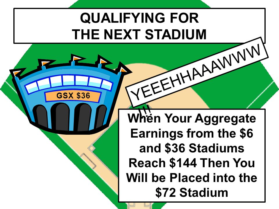 QUALIFYING FOR THE NEXT STADIUM GSX $6 When Your Earnings in the $6 Stadium Reach $36 Then You Will be Placed into the $36 Stadium (That Was THE WAVE!
