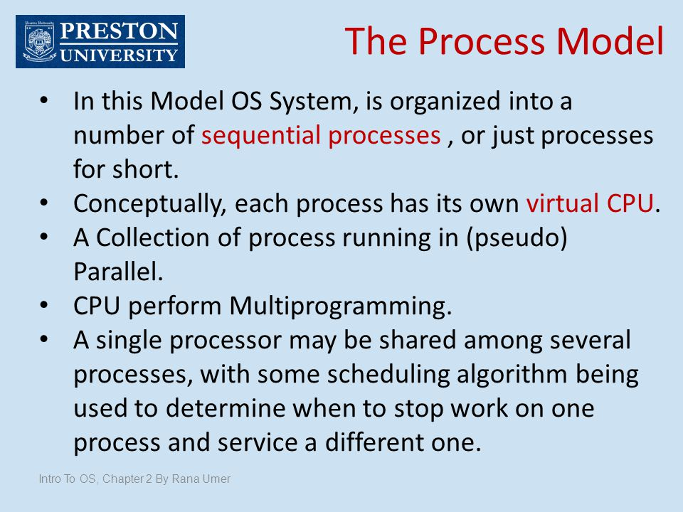 The Process Model In this Model OS System, is organized into a number of sequential processes, or just processes for short. Conceptually, each process