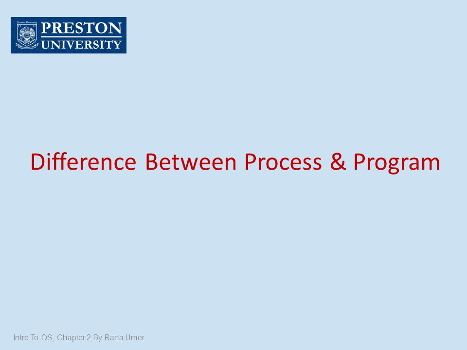Difference Between Process & Program Intro To OS, Chapter 2 By Rana Umer