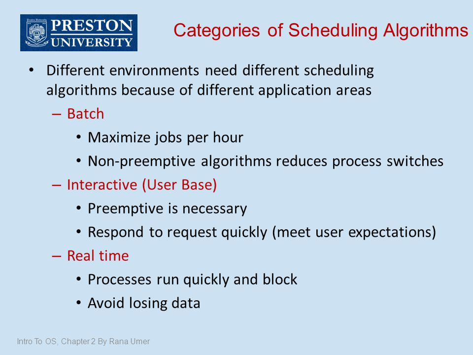 Categories of Scheduling Algorithms Different environments need different scheduling algorithms because of different application areas – Batch Maximiz