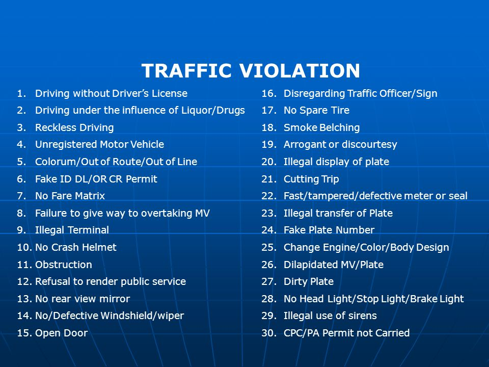 TRAFFIC VIOLATION 1.Driving without Drivers License 16.