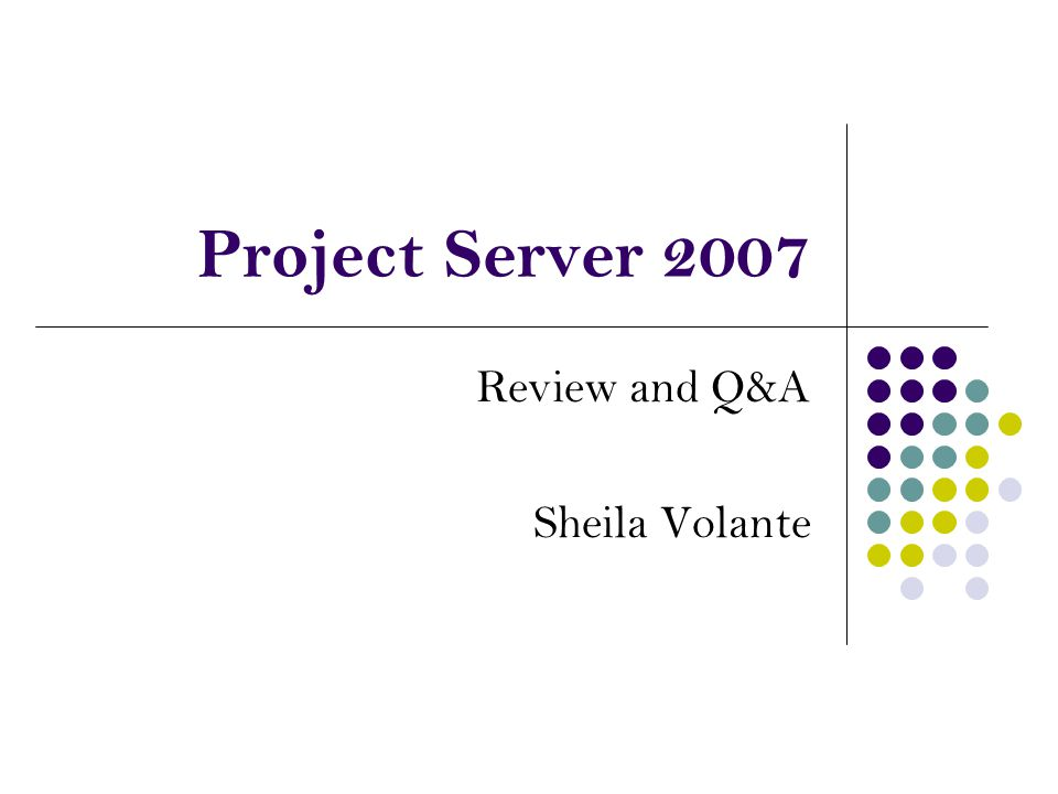 Review and Q&A Sheila Volante Project Server 2007