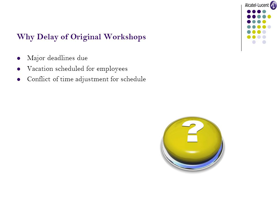 Why Delay of Original Workshops Major deadlines due Vacation scheduled for employees Conflict of time adjustment for schedule