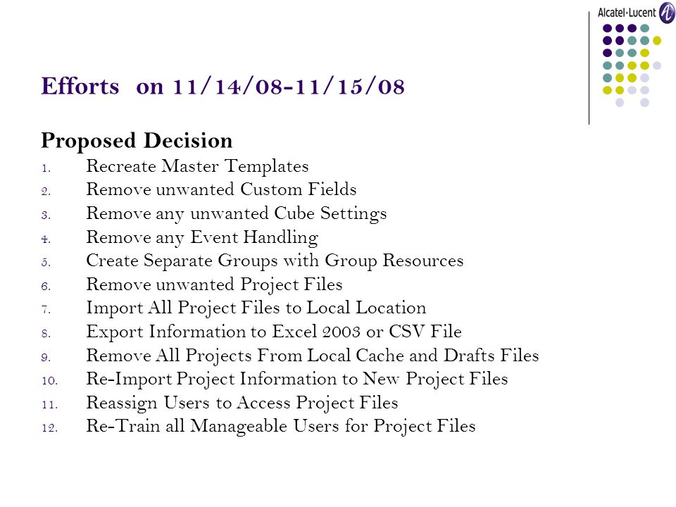 Efforts on 11/14/08-11/15/08 Proposed Decision 1. Recreate Master Templates 2. Remove unwanted Custom Fields 3. Remove any unwanted Cube Settings 4. R