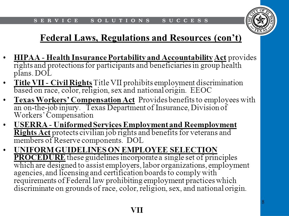 8 Federal Laws, Regulations and Resources (cont) HIPAA - Health Insurance Portability and Accountability Act provides rights and protections for parti