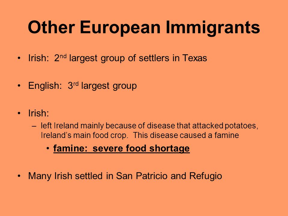 Other European Immigrants Irish: 2 nd largest group of settlers in Texas English: 3 rd largest group Irish: –left Ireland mainly because of disease th