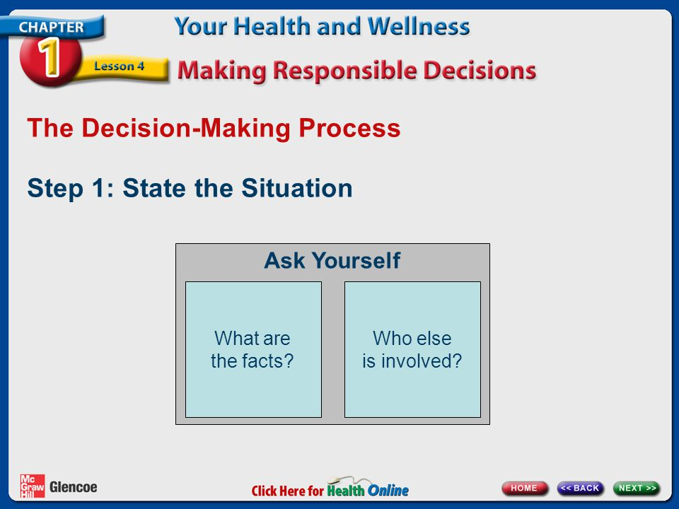 The Decision-Making Process Step 2: List the options Think of all your options and ask other people for suggestions.