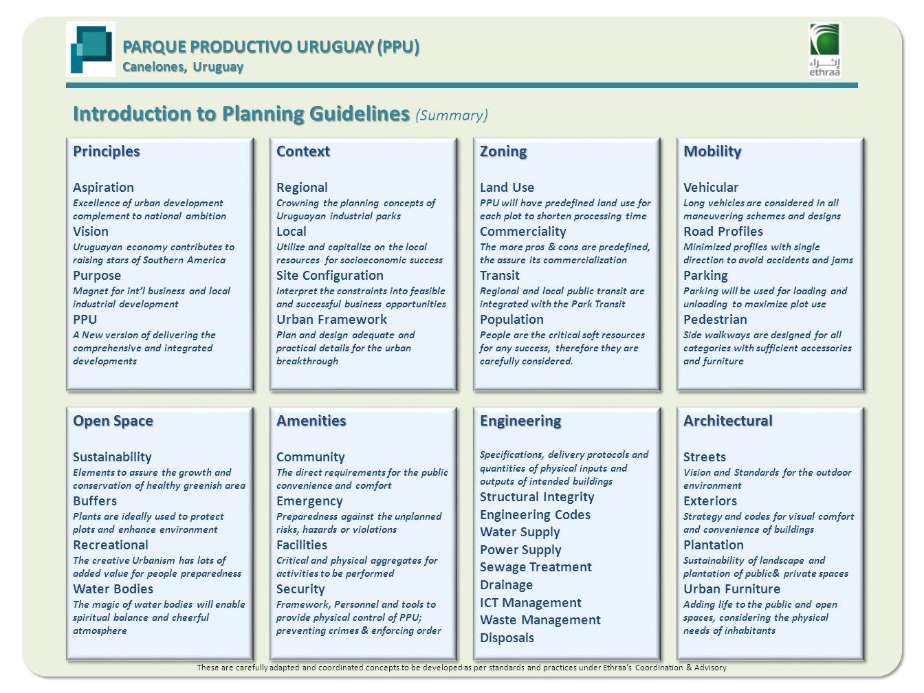 Introduction to Planning Guidelines Introduction to Planning Guidelines (Summary) PARQUE PRODUCTIVO URUGUAY (PPU) Canelones, Uruguay Principles Aspiration Excellence of urban development complement to national ambition Vision Uruguayan economy contributes to raising stars of Southern America Purpose Magnet for intl business and local industrial development PPU A New version of delivering the comprehensive and integrated developmentsPrinciples Aspiration Excellence of urban development complement to national ambition Vision Uruguayan economy contributes to raising stars of Southern America Purpose Magnet for intl business and local industrial development PPU A New version of delivering the comprehensive and integrated developments Open Space Sustainability Elements to assure the growth and conservation of healthy greenish area Buffers Plants are ideally used to protect plots and enhance environment Recreational The creative Urbanism has lots of added value for people preparedness Water Bodies The magic of water bodies will enable spiritual balance and cheerful atmosphere Open Space Sustainability Elements to assure the growth and conservation of healthy greenish area Buffers Plants are ideally used to protect plots and enhance environment Recreational The creative Urbanism has lots of added value for people preparedness Water Bodies The magic of water bodies will enable spiritual balance and cheerful atmosphere Context Regional Crowning the planning concepts of Uruguayan industrial parks Local Utilize and capitalize on the local resources for socioeconomic success Site Configuration Interpret the constraints into feasible and successful business opportunities Urban Framework Plan and design adequate and practical details for the urban breakthroughContext Regional Crowning the planning concepts of Uruguayan industrial parks Local Utilize and capitalize on the local resources for socioeconomic success Site Configuration Interpret the constraints into feasible and successful business opportunities Urban Framework Plan and design adequate and practical details for the urban breakthrough Amenities Community The direct requirements for the public convenience and comfort Emergency Preparedness against the unplanned risks, hazards or violations Facilities Critical and physical aggregates for activities to be performed Security Framework, Personnel and tools to provide physical control of PPU; preventing crimes & enforcing orderAmenities Community The direct requirements for the public convenience and comfort Emergency Preparedness against the unplanned risks, hazards or violations Facilities Critical and physical aggregates for activities to be performed Security Framework, Personnel and tools to provide physical control of PPU; preventing crimes & enforcing order Zoning Land Use PPU will have predefined land use for each plot to shorten processing time Commerciality The more pros & cons are predefined, the assure its commercialization Transit Regional and local public transit are integrated with the Park Transit Population People are the critical soft resources for any success, therefore they are carefully considered.Zoning Land Use PPU will have predefined land use for each plot to shorten processing time Commerciality The more pros & cons are predefined, the assure its commercialization Transit Regional and local public transit are integrated with the Park Transit Population People are the critical soft resources for any success, therefore they are carefully considered.