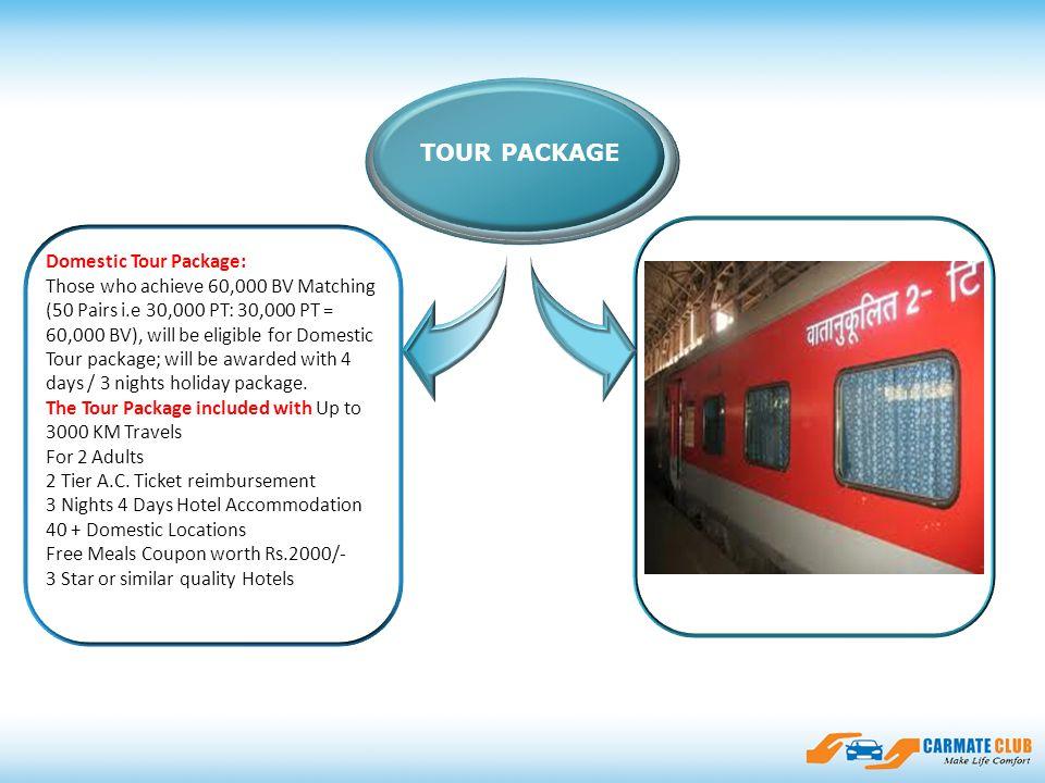 ssfasdfadsfsdasfdfdsfasdsfsadfasfsdf TOUR PACKAGE Domestic Tour Package: Those who achieve 60,000 BV Matching (50 Pairs i.e 30,000 PT: 30,000 PT = 60,