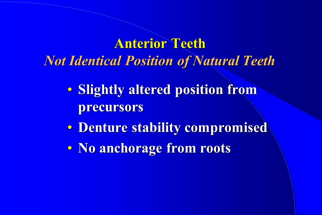 Anterior Teeth Not Identical Position of Natural Teeth Slightly altered position from precursorsSlightly altered position from precursors Denture stability compromisedDenture stability compromised No anchorage from rootsNo anchorage from roots