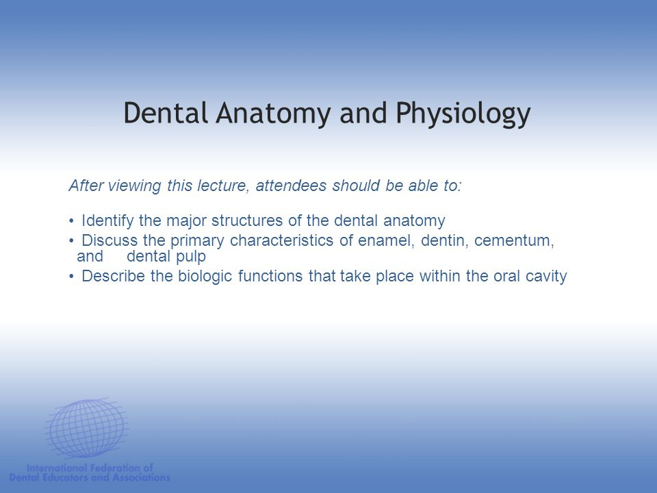 Dental Anatomy and Physiology pH values: 7,8 measure of acidity or alkalinity of a solution measured on a scale of 1-14 pH of 7 indicated that the solution is neutral pH of the mouth is close to neutral until other factors are introduced pH is a factor in demineralization and remineralization Oral Cavity 3.