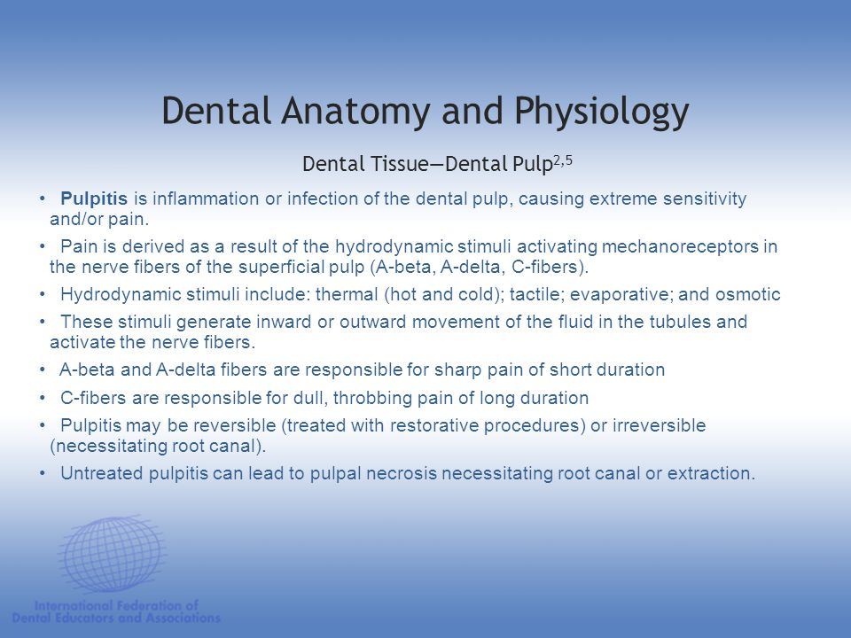 Pulpitis is inflammation or infection of the dental pulp, causing extreme sensitivity and/or pain. Pain is derived as a result of the hydrodynamic sti