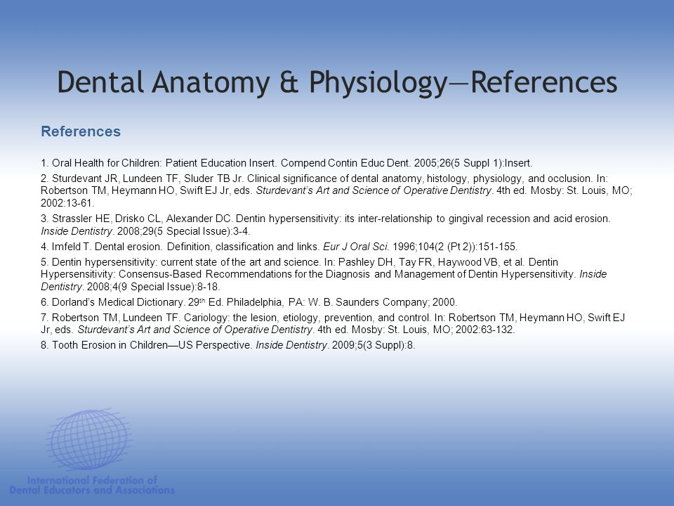 Dental Anatomy & PhysiologyReferences References 1. Oral Health for Children: Patient Education Insert. Compend Contin Educ Dent. 2005;26(5 Suppl 1):I