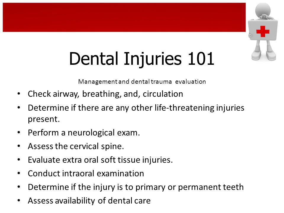 Dental Injuries 101 Three broad categories of injuries result from impacts during play to the soft tissues, the jaws and teeth: Soft Tissues – bruises, lacerations and cuts to the lips, cheeks and tongue.