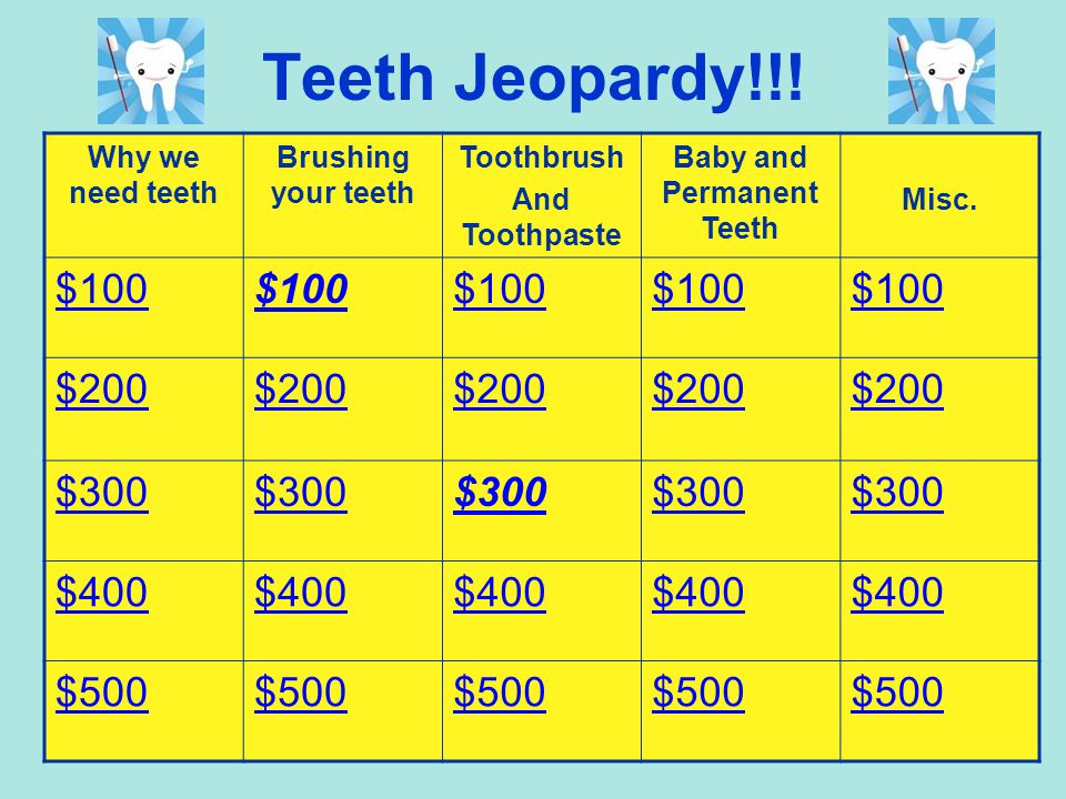 Lets Compare… Baby TeethAdult Teeth 28 20 Fall out Permanent Start coming in at 6-12 months Start coming in at 5 or 6 years Need to brush them 2 times a day Helps us talk, chew, sing…