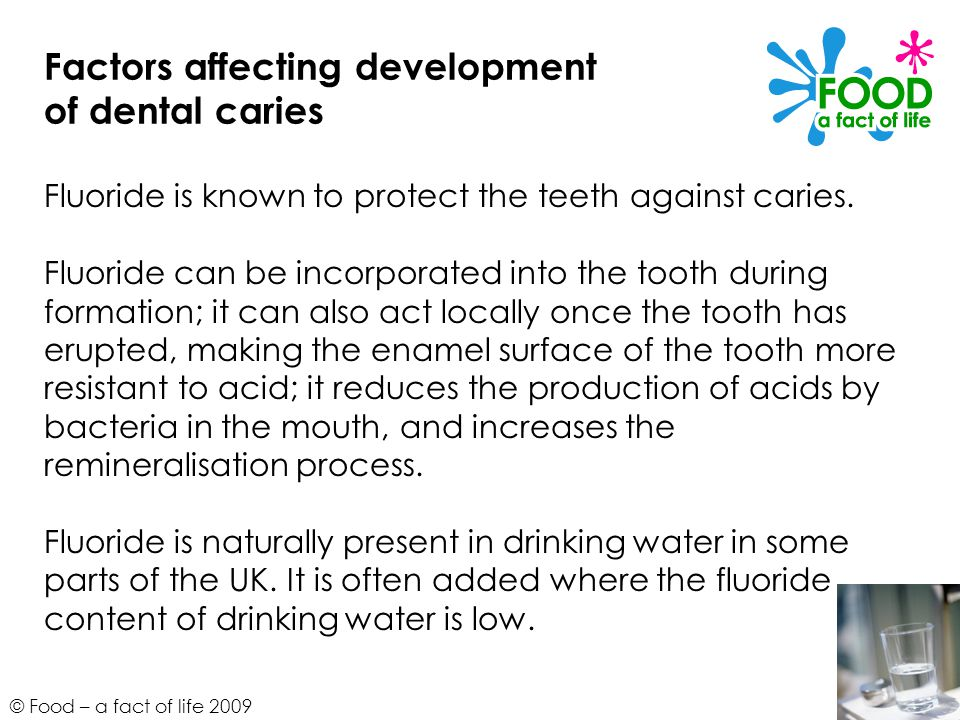 © Food – a fact of life 2009 Factors affecting development of dental caries Fluoride is known to protect the teeth against caries.