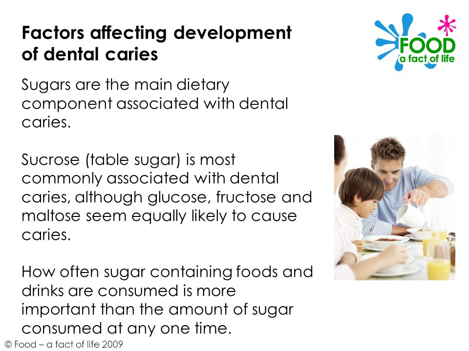 © Food – a fact of life 2009 Factors affecting development of dental caries Sugars are the main dietary component associated with dental caries. Sucro