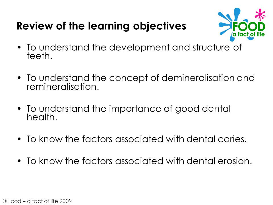 © Food – a fact of life 2009 Review of the learning objectives To understand the development and structure of teeth.
