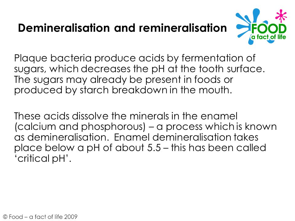 © Food – a fact of life 2009 Demineralisation and remineralisation Plaque bacteria produce acids by fermentation of sugars, which decreases the pH at the tooth surface.