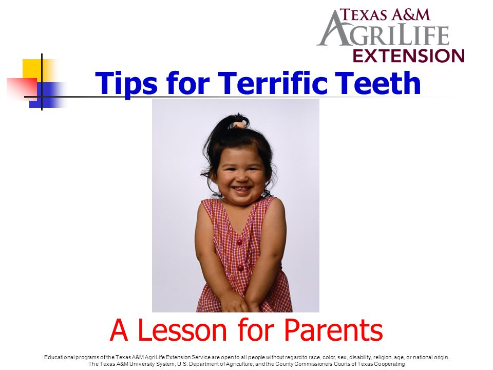 Tips for Terrific Teeth A Lesson for Parents Educational programs of the Texas A&M AgriLife Extension Service are open to all people without regard to race, color, sex, disability, religion, age, or national origin.