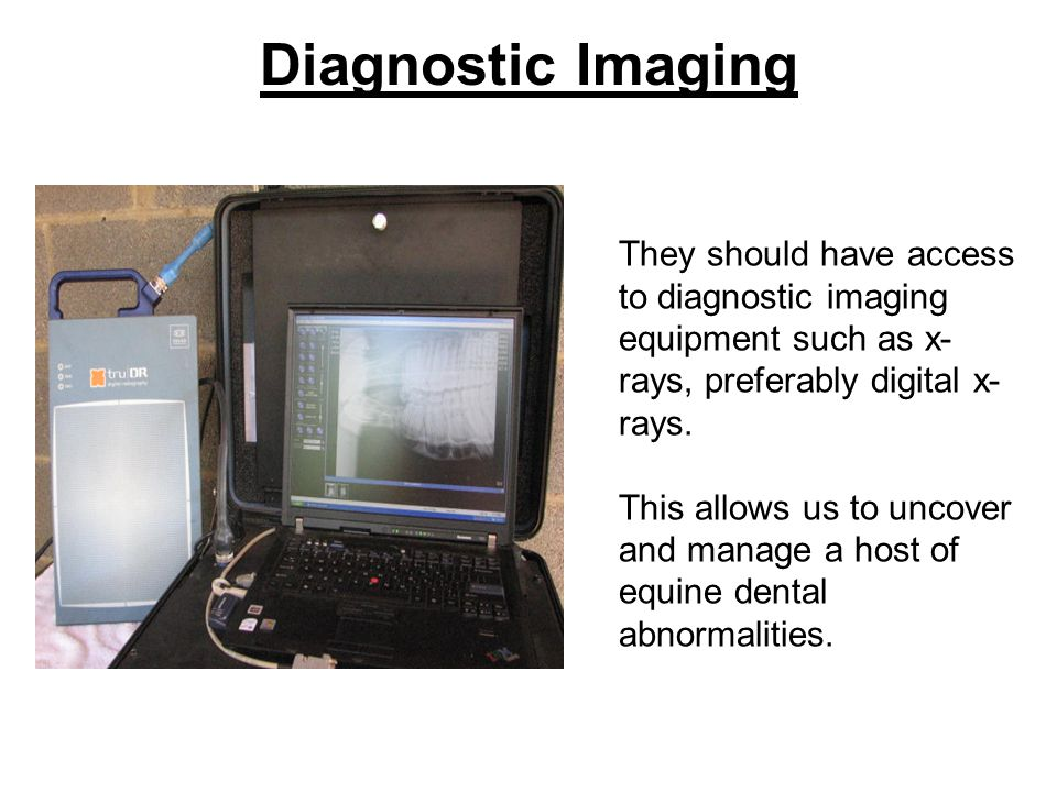 Diagnostic Imaging They should have access to diagnostic imaging equipment such as x- rays, preferably digital x- rays. This allows us to uncover and