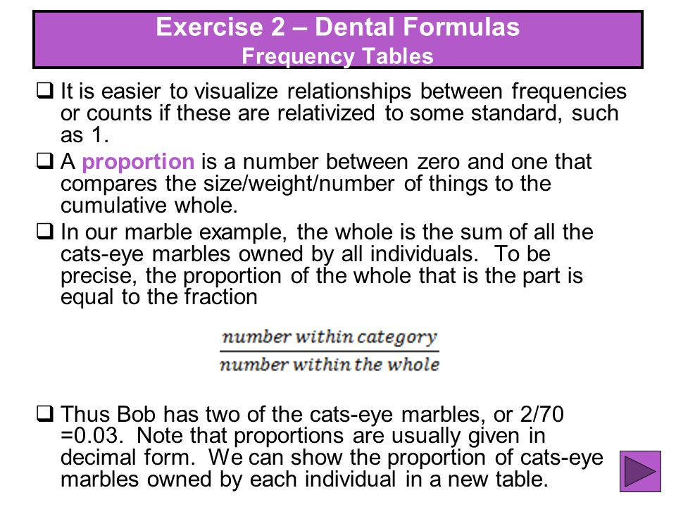 36 Exercise 2 – Frequency Tables It is easier to visualize relationships between frequencies or counts if these are relativized to some standard, such