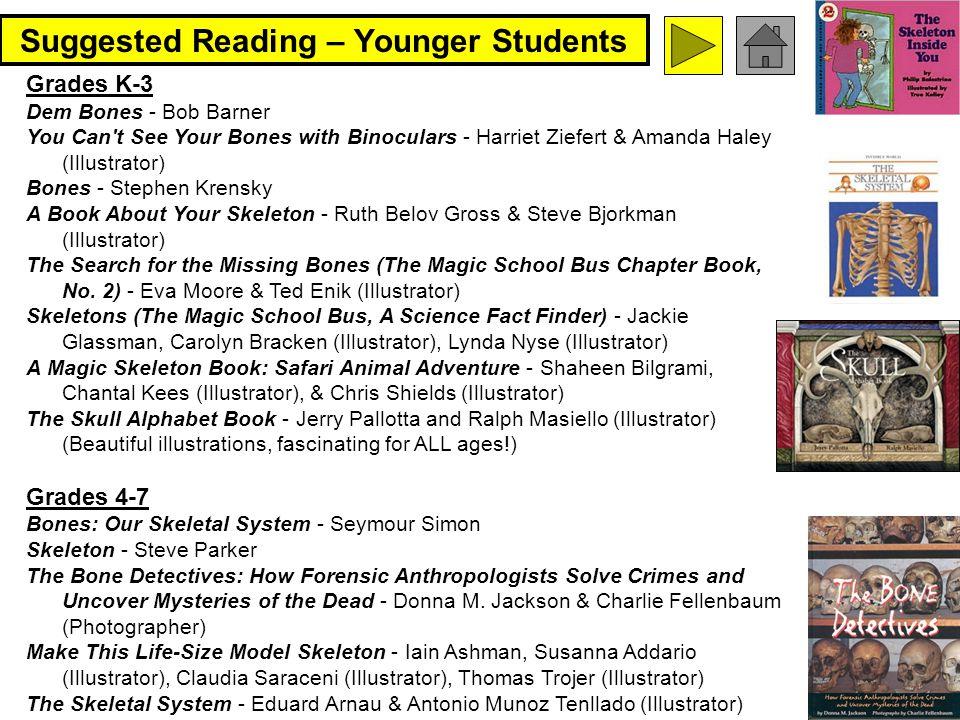 89 Suggested Reading – Younger Students Grades K-3 Dem Bones - Bob Barner You Can't See Your Bones with Binoculars - Harriet Ziefert & Amanda Haley (I