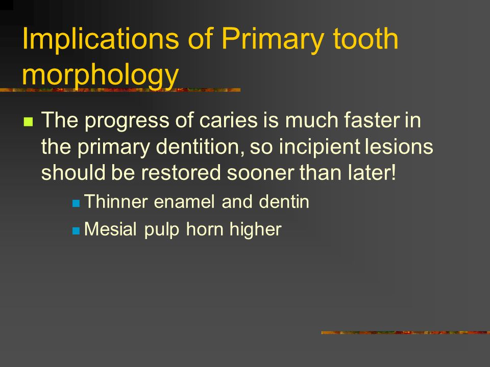 Implications of Primary tooth morphology The progress of caries is much faster in the primary dentition, so incipient lesions should be restored soone