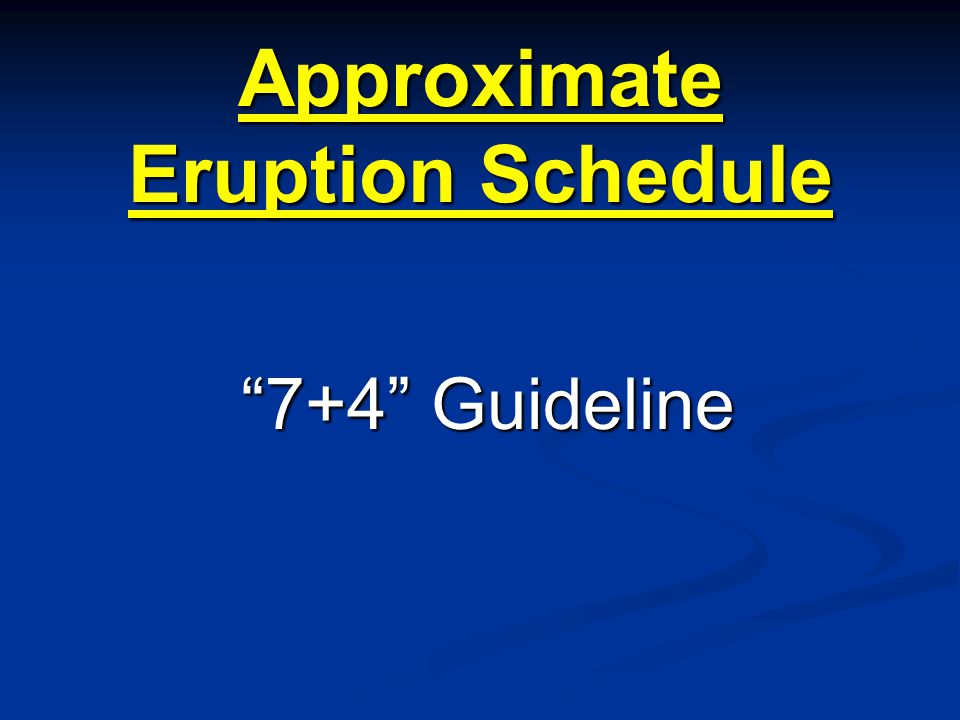 Approximate Eruption Schedule 7+4 Guideline