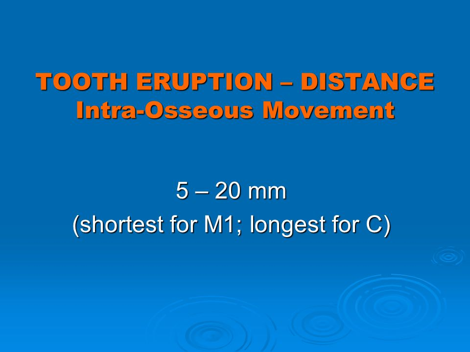 TOOTH ERUPTION – DISTANCE Intra-Osseous Movement 5 – 20 mm (shortest for M1; longest for C)