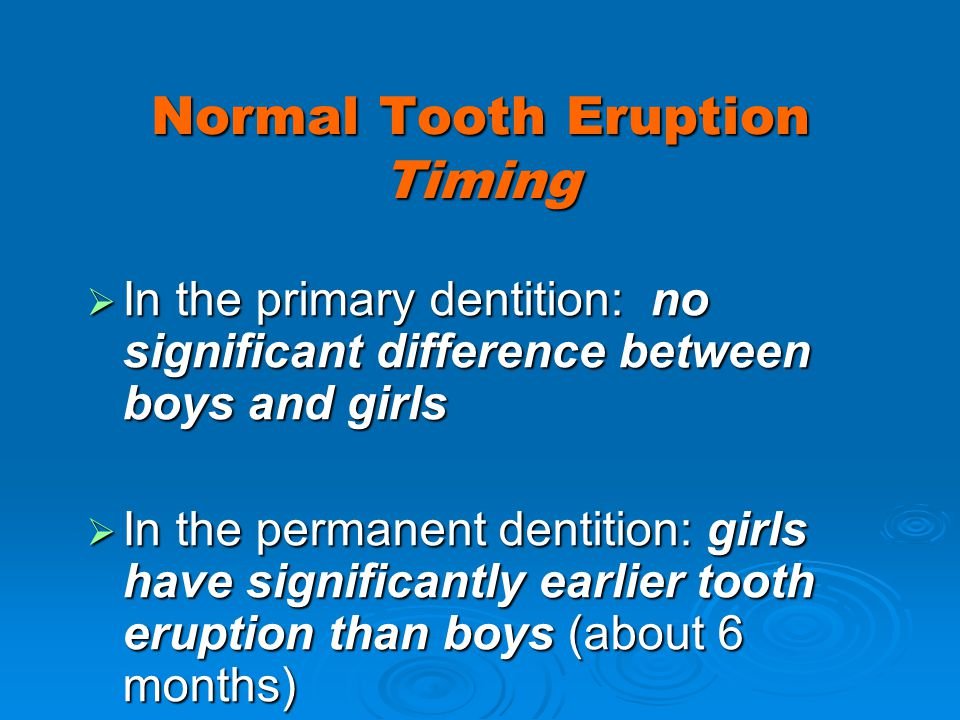 Normal Tooth Eruption Timing In the primary dentition: no significant difference between boys and girls In the primary dentition: no significant diffe