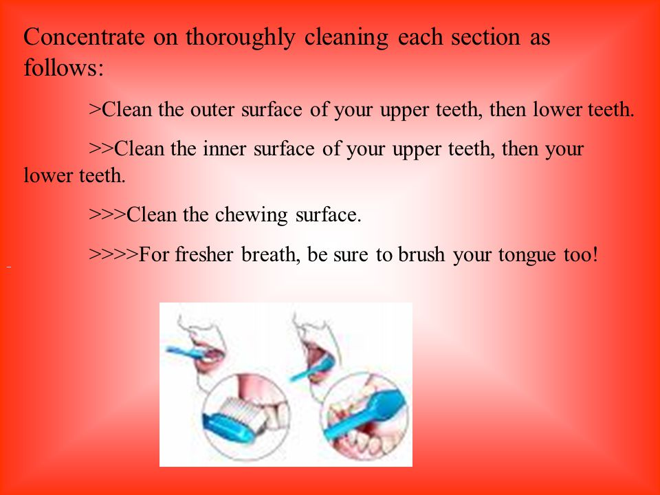 Concentrate on thoroughly cleaning each section as follows: >Clean the outer surface of your upper teeth, then lower teeth. >>Clean the inner surface
