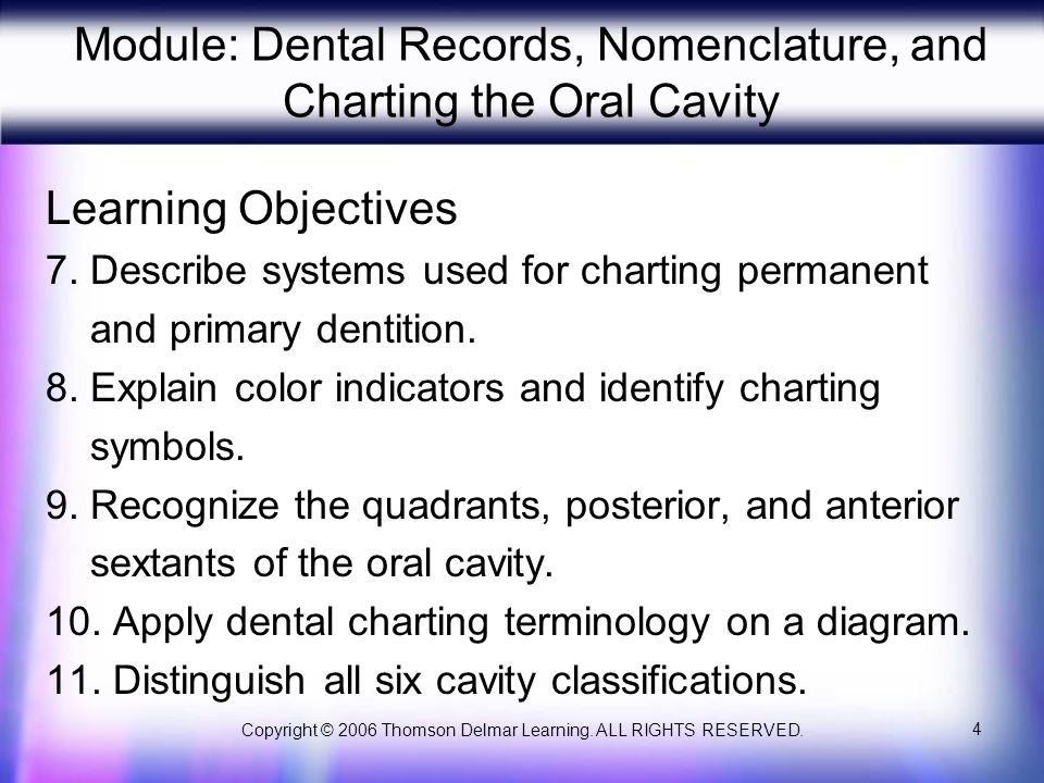Copyright © 2006 Thomson Delmar Learning. ALL RIGHTS RESERVED. 15 Primary Dentition