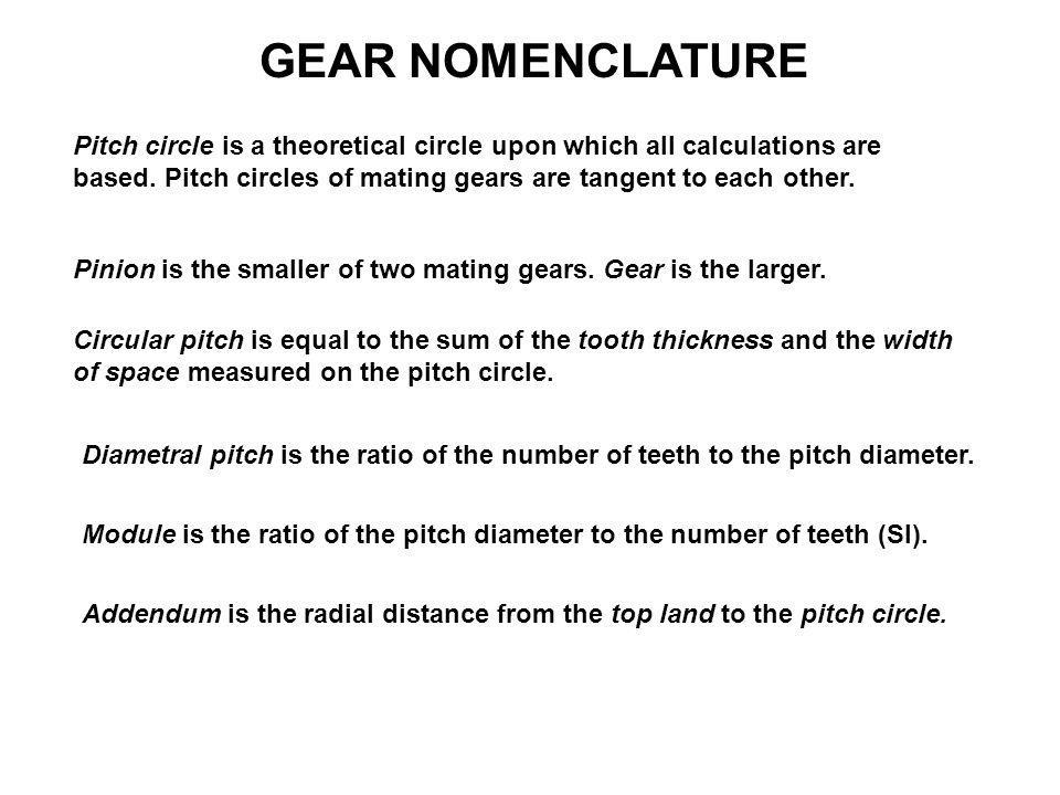 GEAR NOMENCLATURE Dedendum is the radial distance from the bottom land to the pitch circle.