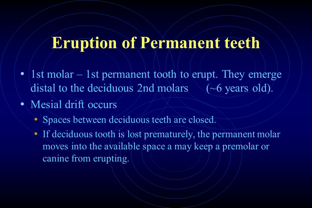 Eruption of Permanent teeth 1st molar – 1st permanent tooth to erupt.