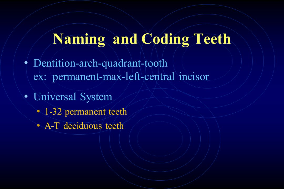 Naming and Coding Teeth Dentition-arch-quadrant-tooth ex: permanent-max-left-central incisor Universal System 1-32 permanent teeth A-T deciduous teeth