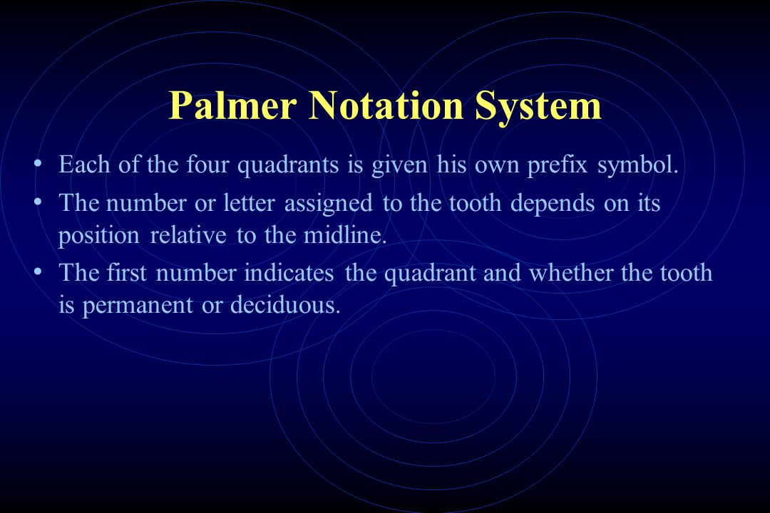 Palmer Notation System Each of the four quadrants is given his own prefix symbol.